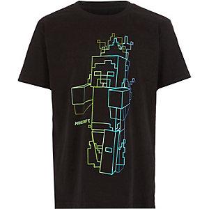 Boys black Minecraft print T-shirt