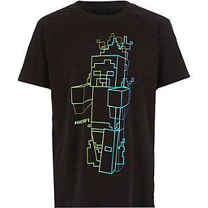 Boys black Minecraft print T-shirt