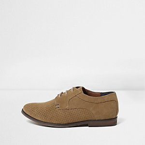 Boys light brown perforated lace-up shoes