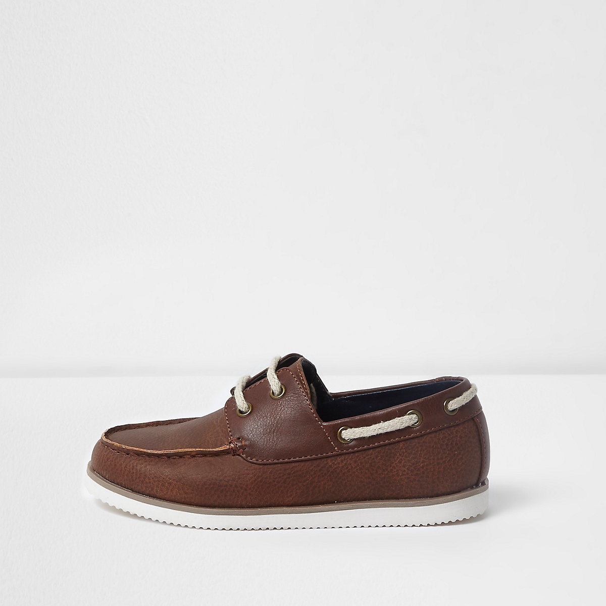 Boys brown lace-up boat shoes