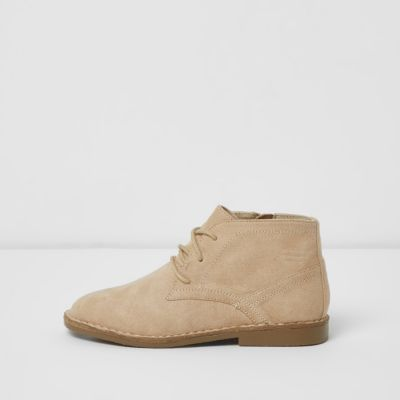 Boys Beige Lace Up Desert Boots by River Island