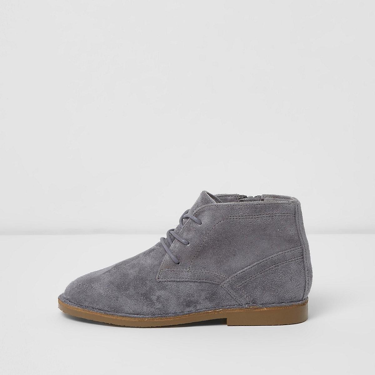Boys grey faux suede desert boots