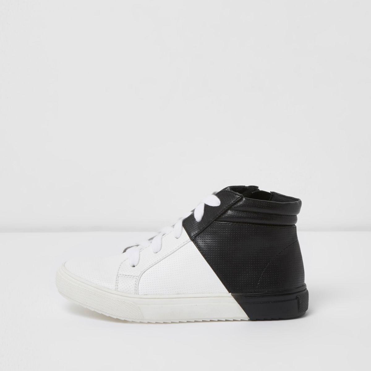 Baskets montantes noires et blanches pour garçon