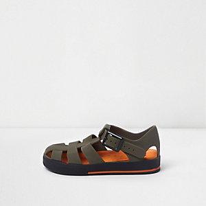 Sandales en plastique effet cage kaki mini garçon