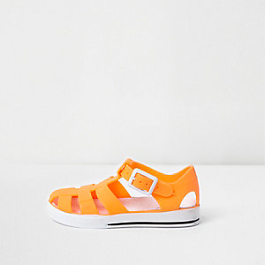 Mini kids orange jelly cage sandals