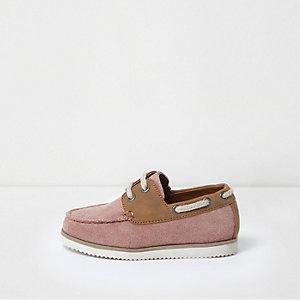 Chaussures bateau en suédine rose mini garçon