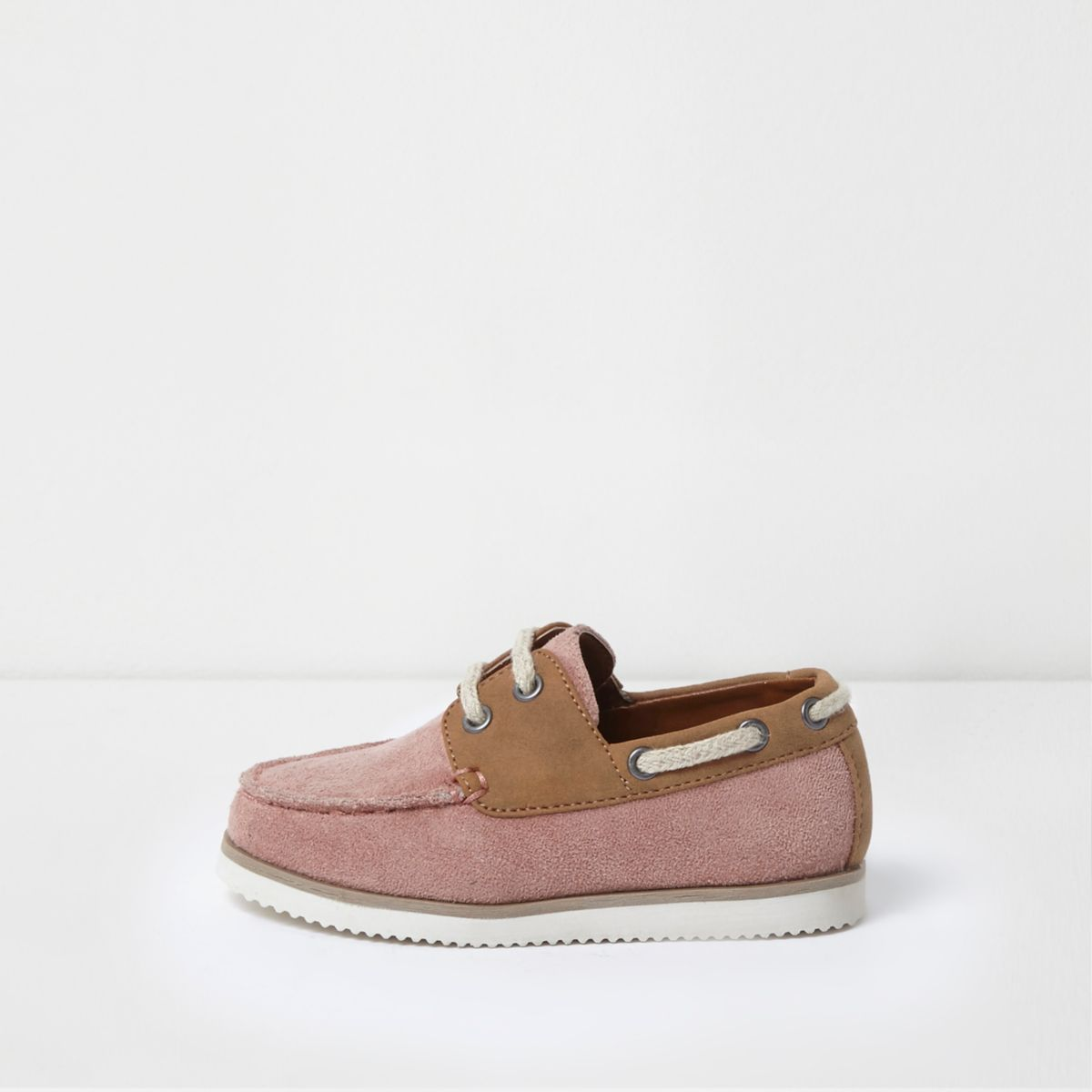 Mini boys pink faux suede boat shoes