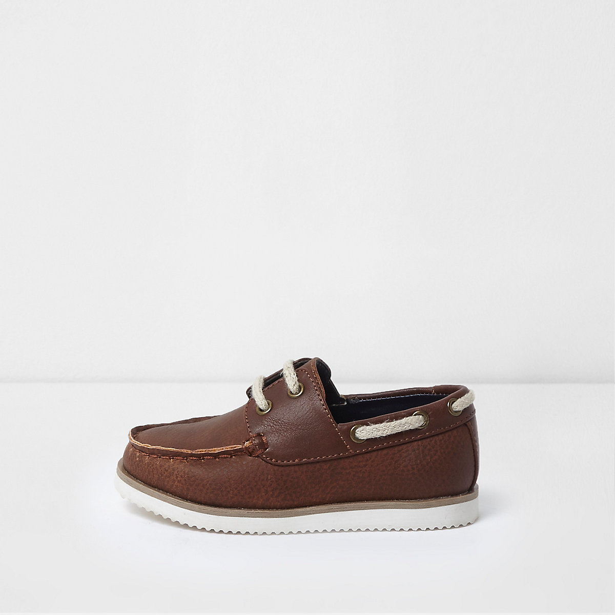 Mini boys brown lace-up boat shoes