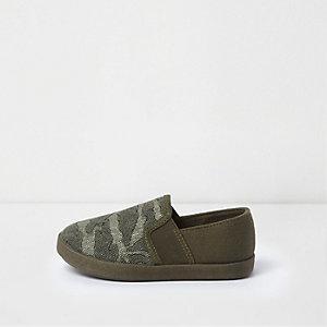 Mini - Kaki slip-on gympen met camouflageprint voor jongens