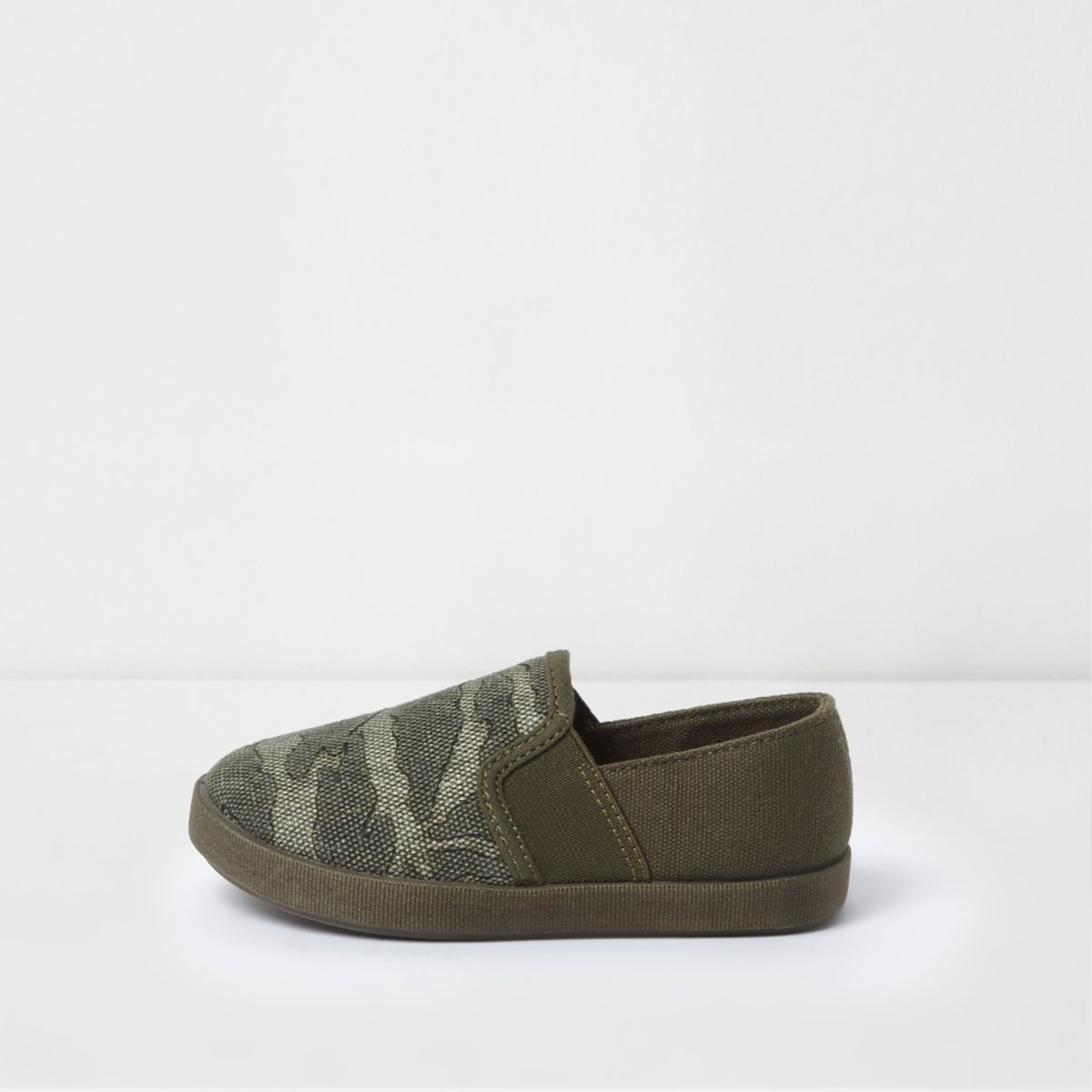 Mini boys khaki camo print slip on plimsolls