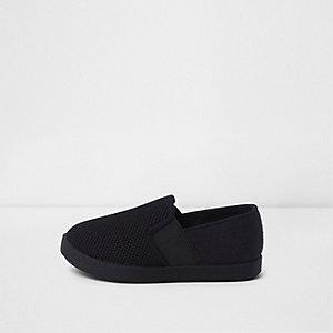 Mini - zwarte slip-on-gympen voor jongens