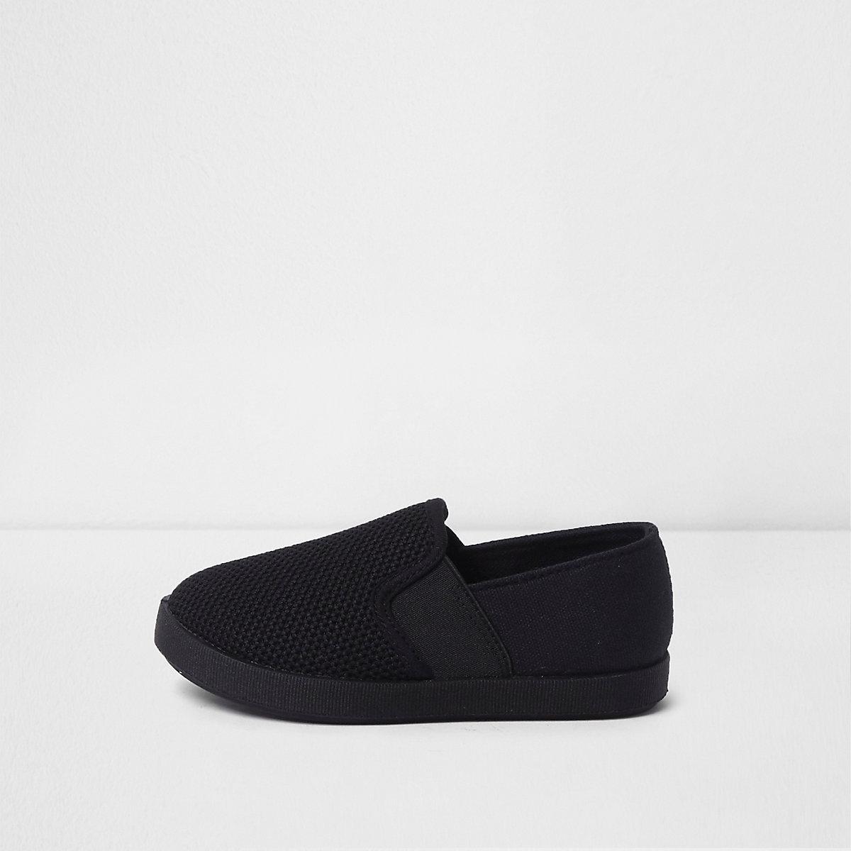 Mini boys black slip on plimsolls