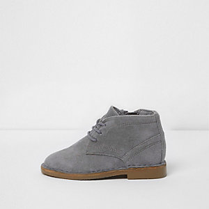 Mini boys grey faux suede desert boots