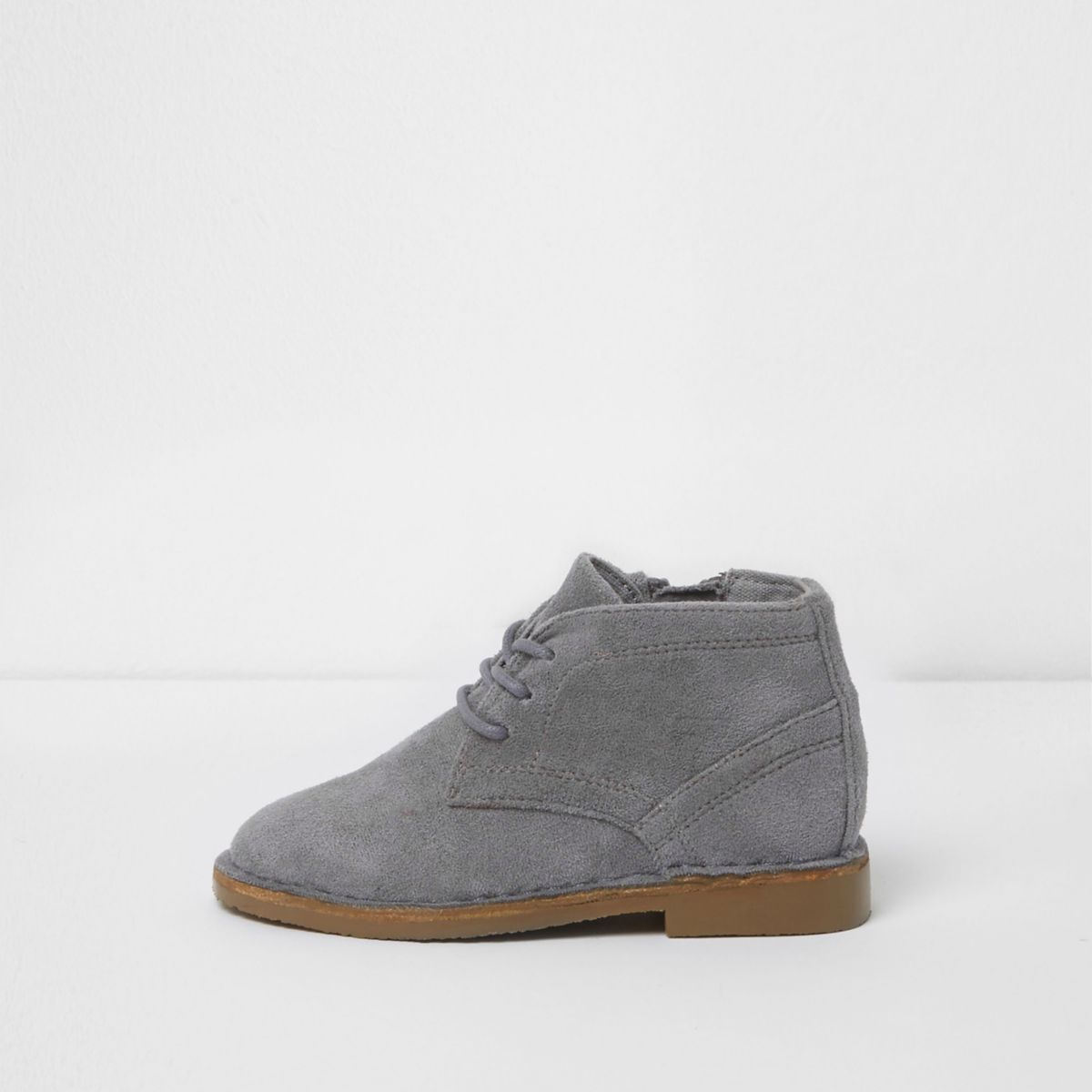 Mini boys grey faux suede desert boots