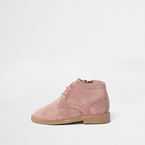 Mini girls pink desert boots