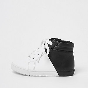 Mini boys white and black hi top trainers