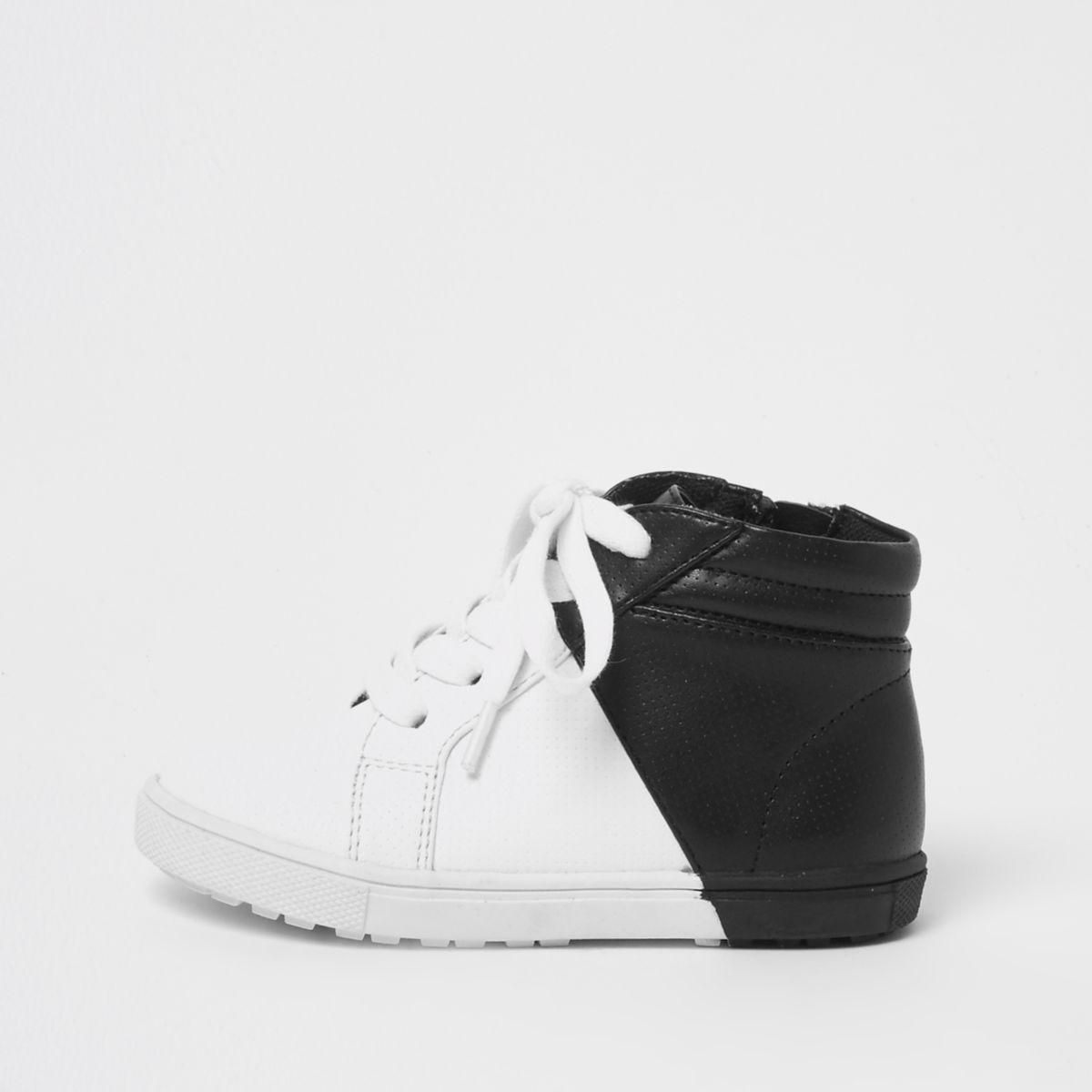 Mini boys white and black hi top trainers