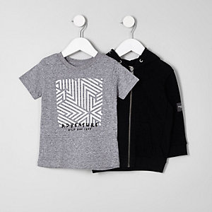 Mini boys black hoodie and T-shirt set