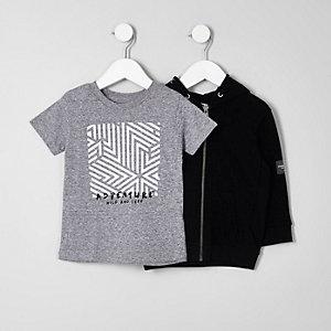 Mini - Set met zwarte hoodie en T-shirt voor jongens