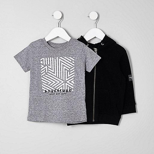 Mini boys black hoodie and T-shirt set