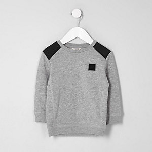 Mini boys grey quilted sleeve sweatshirt