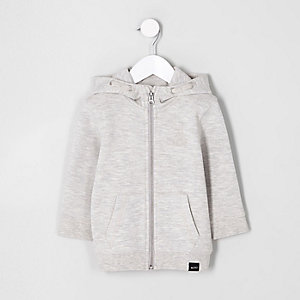 Mini boys grey zip-up pique hoodie