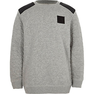 Boys grey quilted sleeve sweatshirt