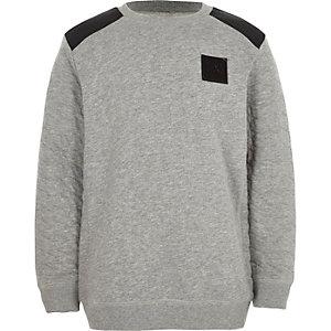 Grijs sweatshirt met doorgestikte mouwen voor jongens