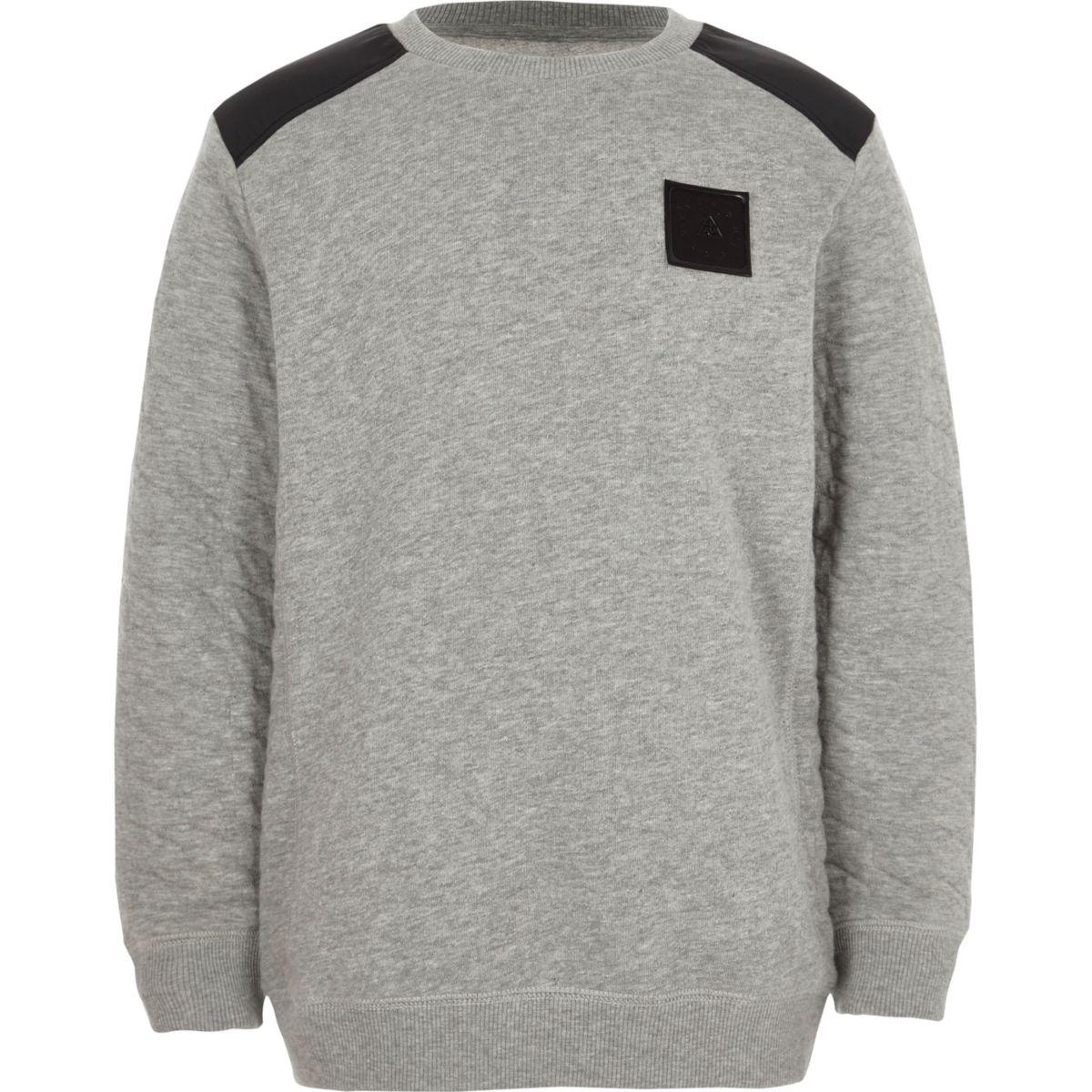 Boys grey quilted sleeve sweatshirt