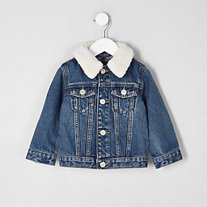 Veste en jean bleu à col imitation mouton mini garçon