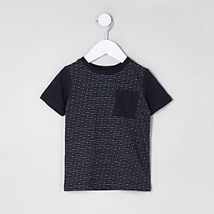 Mini boys navy jacquard pocket T-shirt