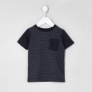T-shirt motif jacquard bleu marine à poche mini garçon