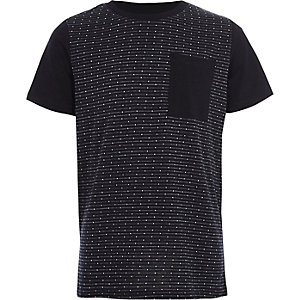 Marineblaues Jacquard-T-Shirt mit Tasche