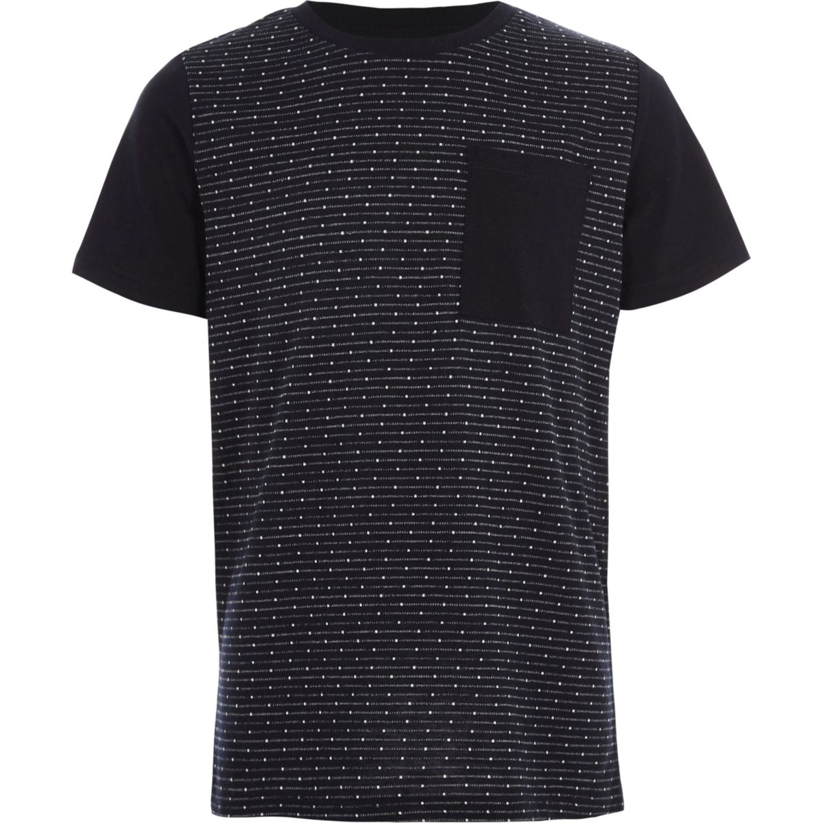 Boys navy jacquard pocket T-shirt