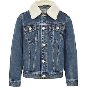 Kids blue denim fleece collar jacket