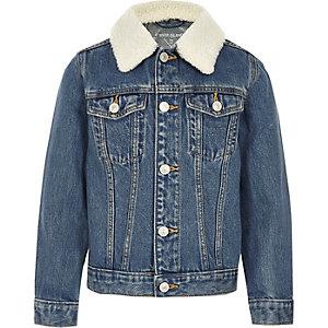 Veste en jean bleu à col imitation mouton pour enfant