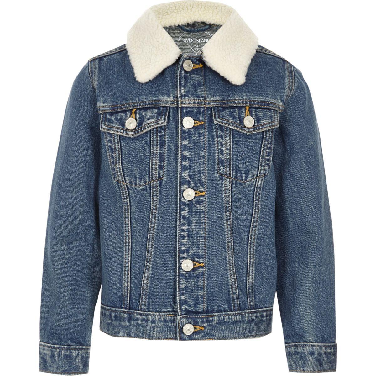 Kids blue denim borg collar jacket