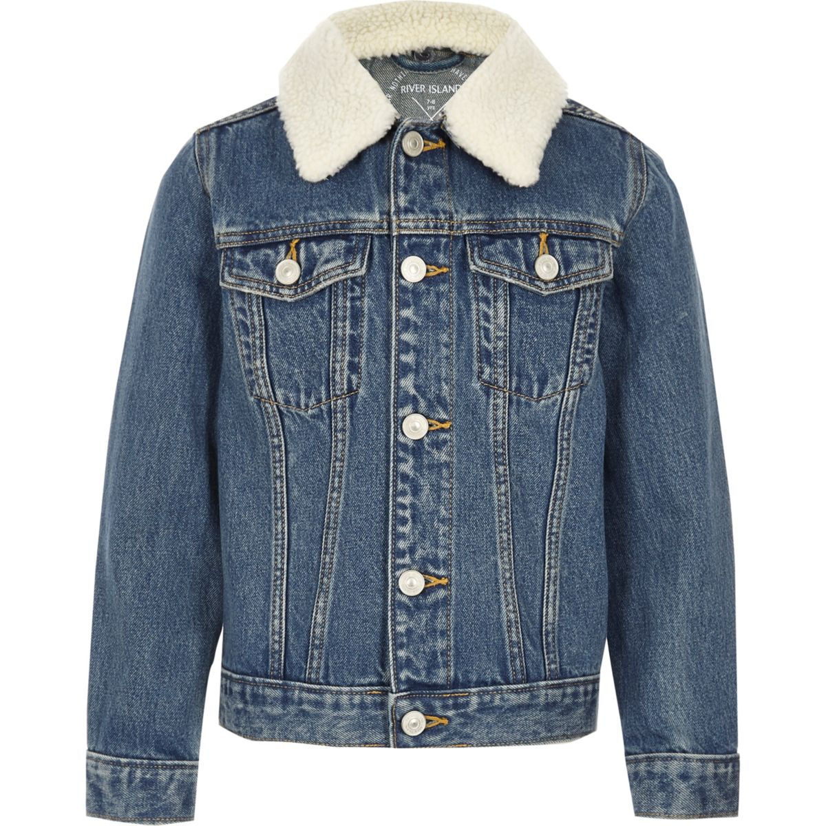 Boys blue denim fleece collar jacket