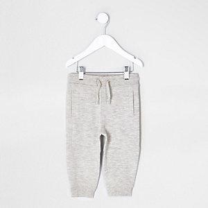 Mini - Kiezelkleurige gemêleerde joggingbroek van piqué-katoen voor jongens