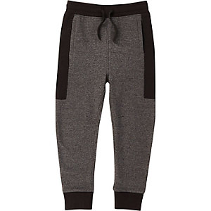 Boys grey block panel joggers