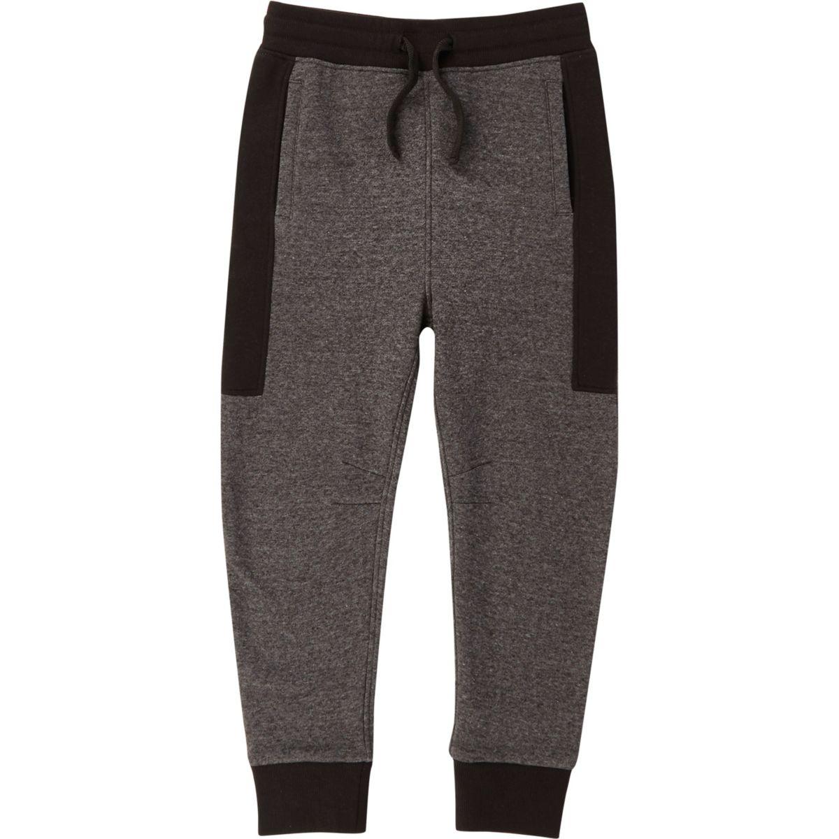 Pantalon de jogging à empiècement colour block gris pour garçon