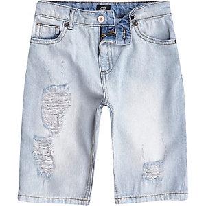 Blauwe washed ripped denim short voor jongens