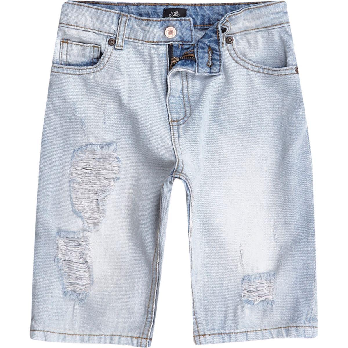 Boys blue washed ripped denim shorts
