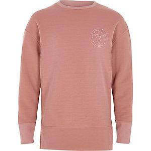 Roze sweatshirt met 'second to none'-print voor jongens
