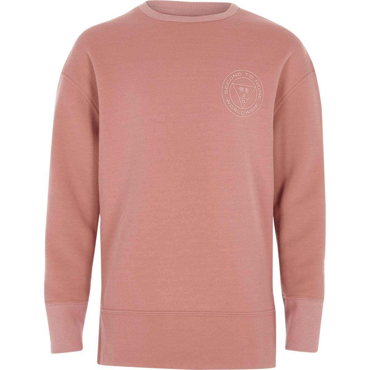 Boys pink 'second to none' sweatshirt