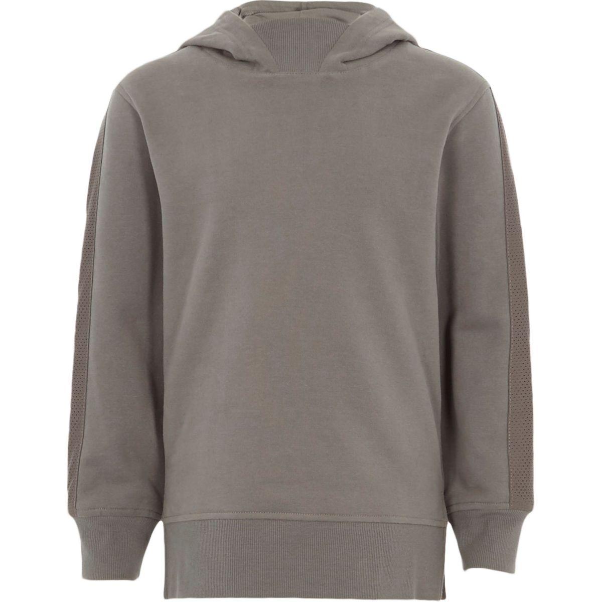 Boys grey mesh panel hoodie
