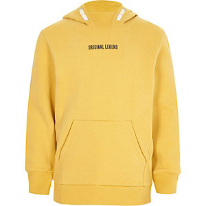 Boys yellow 'legend' print hoodie
