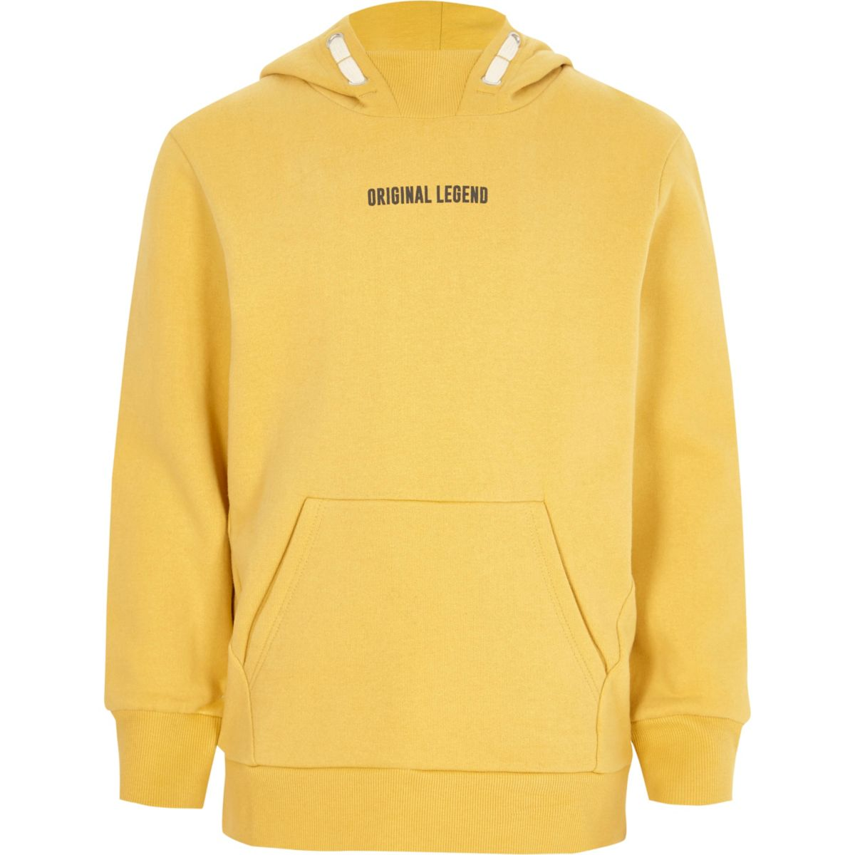 Boys yellow 'legend' print hoodie
