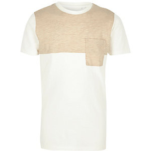 Boys cream and beige block T-shirt
