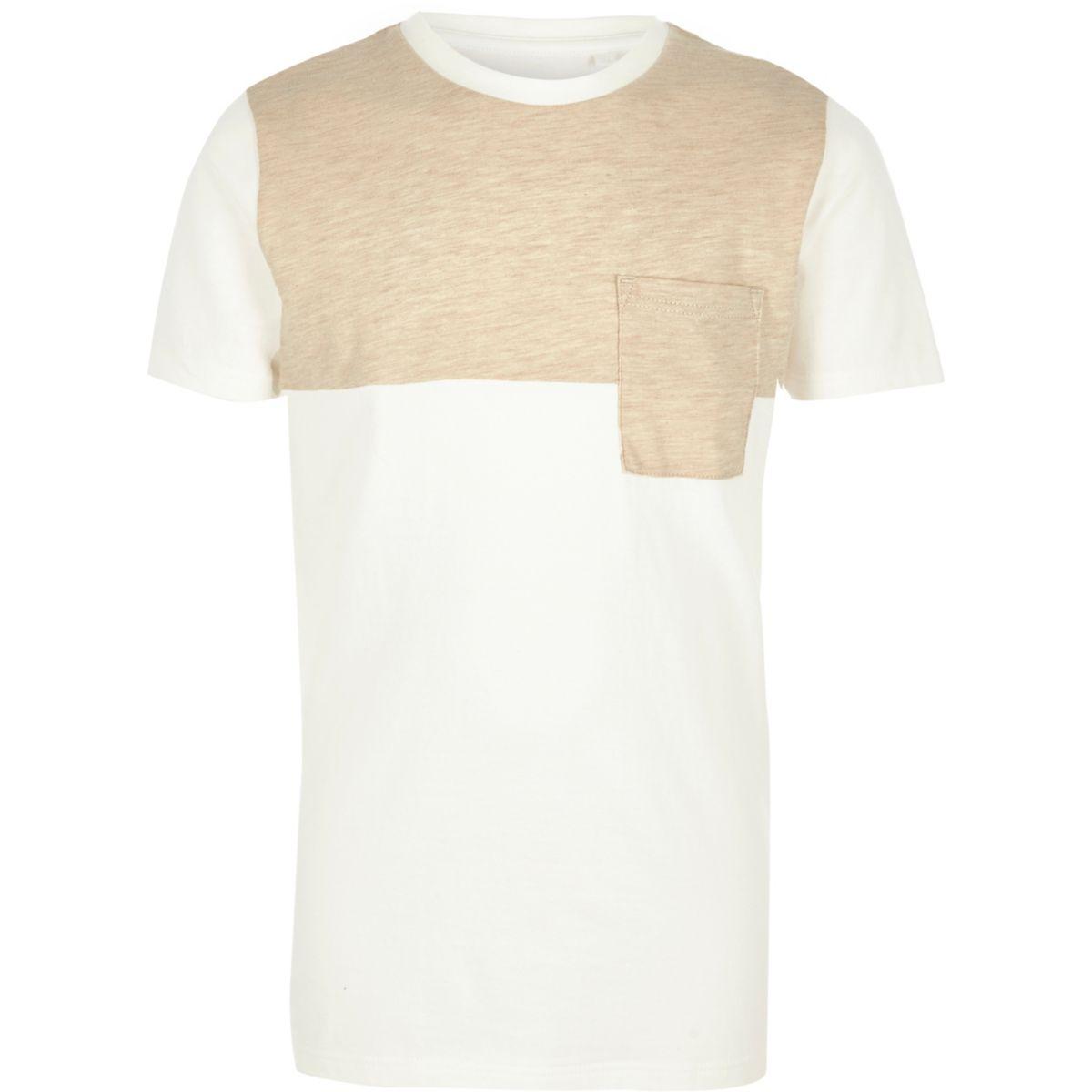 T-shirt crème et beige effet colour block pour garçon